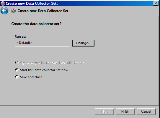 Start data collector set now